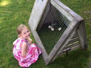 Girl with Cluck Hutch at the Farm in Door County, WI