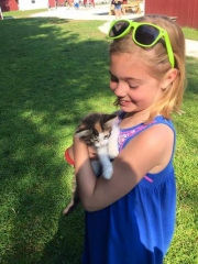 Girl with Kitten at the Farm in Door County, WI
